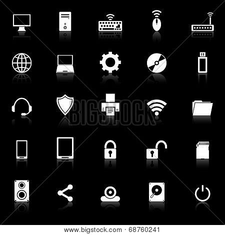 Computer Icons With Reflect On Black Background