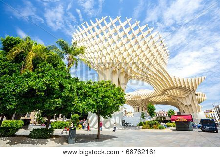 Seville, Spain, Jun 2014: Metropol Parasol is the modern architecture on Plaza de la Encarnacion on Jun 5, 2014 in Seville, Spain.  It was designed by the German architect Jurgen Mayer-Hermann.