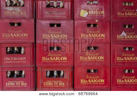 Stack Of Crates With 'saigon' Beer Bottles.