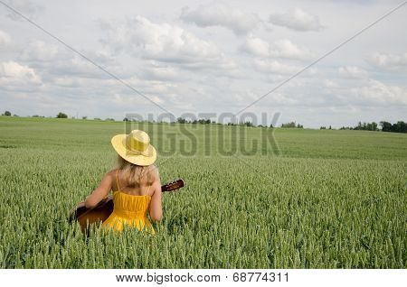 Country Woman In Dress Play Guitar Wheat Field