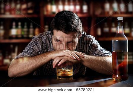Alcoholic Drunk Man Thinkingl On Alcohol Addiction At Bar Pub