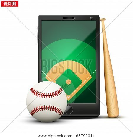 Smartphone With Baseball Ball And Field On The Screen.