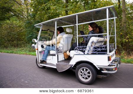 Solar Powered Tuc Tuc On The Road