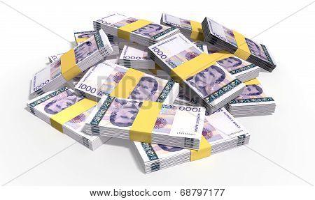 Norwegian Krone Notes Scattered Pile