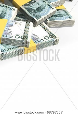 Swedish Krona Notes Scattered Pile