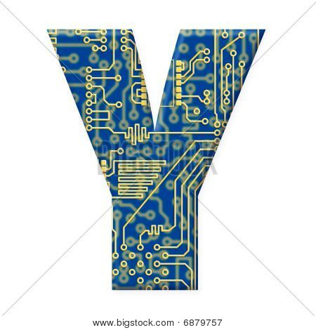 Letter From Electronic Circuit Board Alphabet On White Background - Y