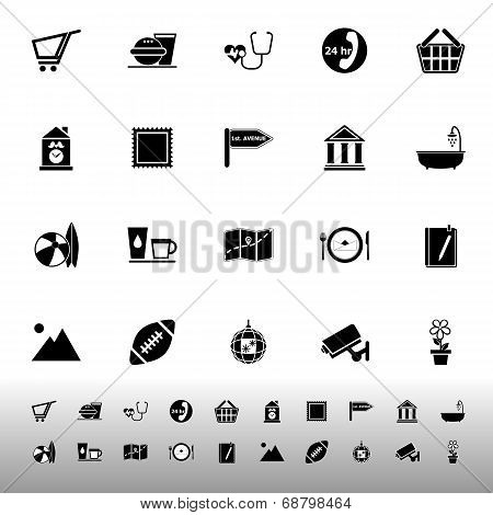 Public Place Sign Icons On White Background