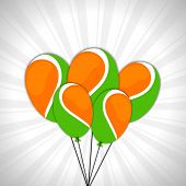 Glossy balloon in national tricolors on grey rays background for Indian Independence Day celebrations.  poster