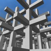 Concrete like girders setting the infrastructure of a sturdy building. poster