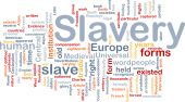 Word cloud concept illustration of human slavery poster