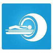 MRI machine, CT scanner in blue color button poster