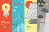 Flat banner set of power and energy savings natural renewable and clean source of energy for money save and environmental protection. Flat design style modern vector illustration concept. poster