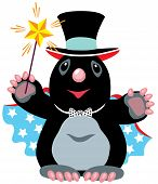 cartoon mole wizard holding a magic wand, isolated image for little kids poster