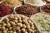 UAE, Dubai, many different spices for sale at the spice souq in Deira poster