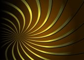 Abstract background golden spiral on dark brown background, vector poster