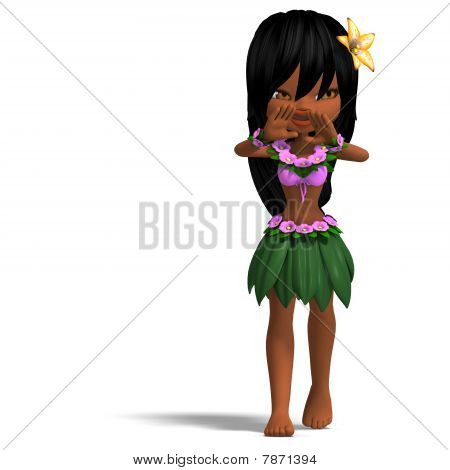 very cute hawaiin cartoon girl is dancing for you