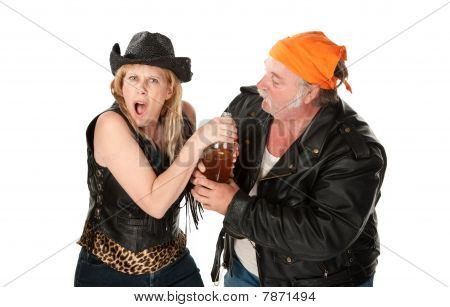 Motorcycle Gang Couple Arguing about a Beer Bottle