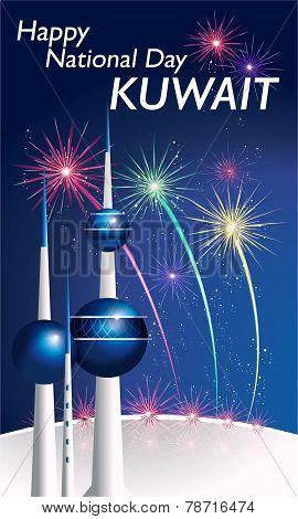 Happy National Day Kuwait Illustration