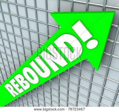 Rebound word on a green 3d arrow to illustrate rising, improving or increasing and bouncing back to succeed