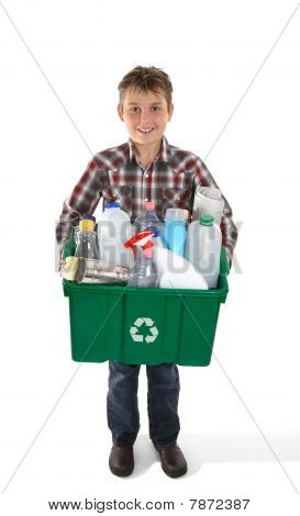 Boy Holding Recycling Bin Full Or Rubbish