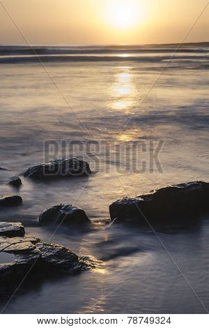 Beautfiul Vibrant Sunset Over Kimmeridge Bay Jurassic Coast England