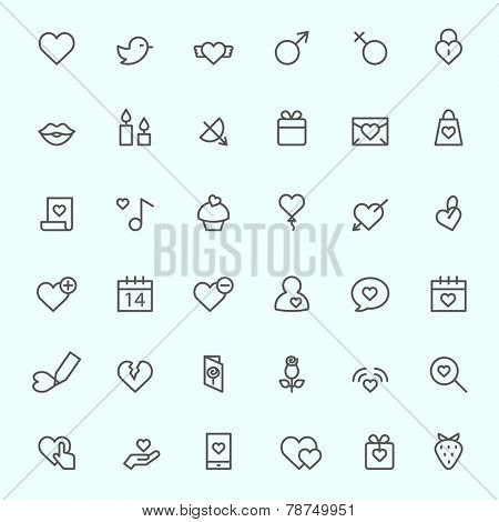 St. Valentine's Day icons, simple and thin line design