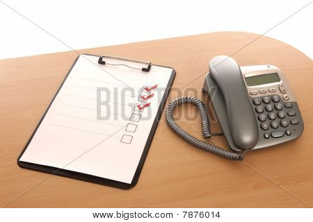 Clipboard And Telephone
