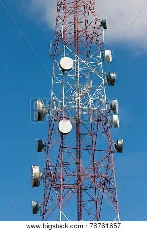 The telecommunication tower under blue sky background poster