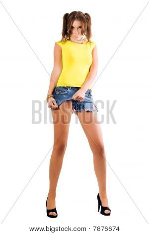 Young Woman Rending Her Shorts