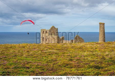 Para gliding over wheal coates