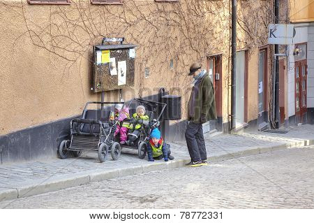Stockholm. Mother And Children