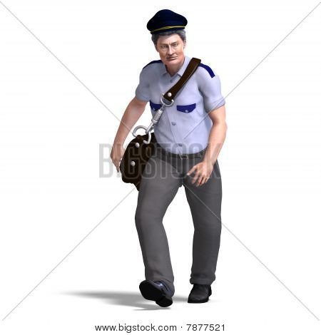 funnny postman with hat and letter bag