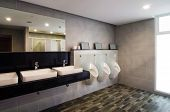 Interior of a luxury public restroom in modern building poster