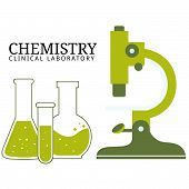 Chemistry lab illustrations showing beakers, test tubes and microscope. Can be used for presentation on web banners or print brochure. Fully editable vector. poster