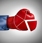 Competition market share loss business concept as a red boxing glove shaped as a financial pie chart diagram as a symbol for losing economic competitiveness. poster