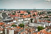 Air view panorama with wroclaw (breslau), poland. poster
