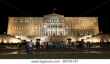 Tourists In Front Of Athens Parlianment Square.
