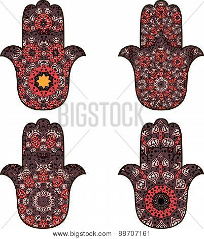 Set of orange-brown hamsa