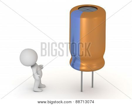 3D Character Looking Up At Electrolytic Capacitor, Isolated On White
