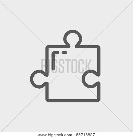 Jigsaw puzzle icon thin line for web and mobile, modern minimalistic flat design. Vector dark grey icon on light grey background.