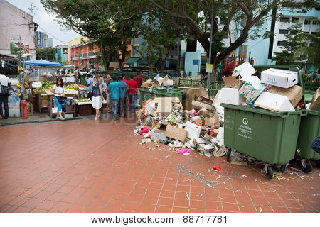 SINGAPORE - FEBRUARY 19, 2015: Little India or the Indian quarter, a very popular area with tourists visiting Singapore. Little India is commonly known as Tekka in the local Tamil community.