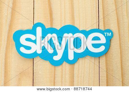 KIEV UKRAINE - FEBRUARY 19 2015: Skype logotype