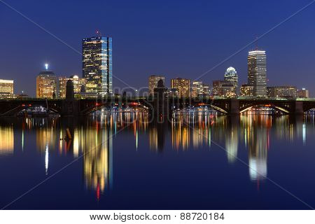 Boston Charles River and Back Bay skyline at night