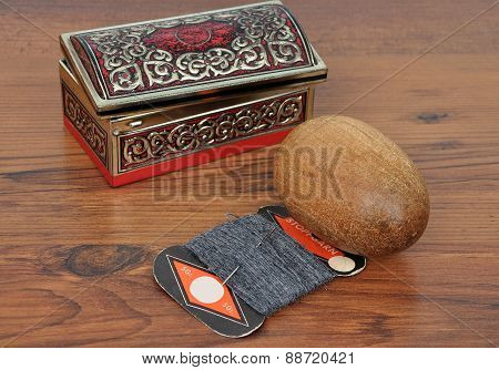 Casket With Darning Utensils