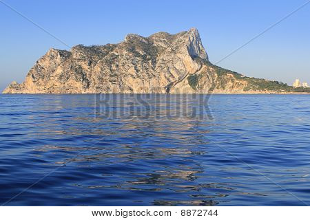 Ifach Penon Mountain In Calpe From Blue Sea
