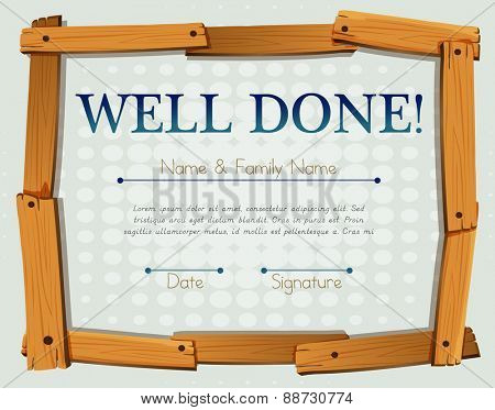 Certificate with wooden frame design