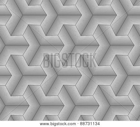 Monochrome Gray Halftone Striped Tetrapods