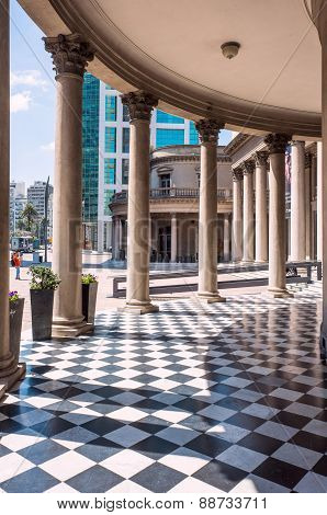 Famous Colonnade Of Theatre Solis In Montevideo, Uruguay