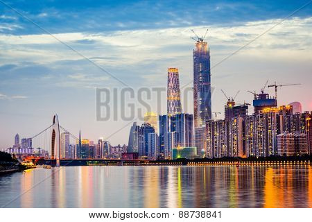 Guangzhou, China city skyline on the Pearl River.