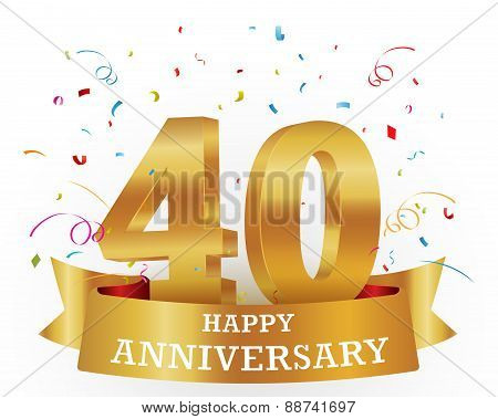 Vector Illustration of 40th Anniversary Celebration background with confetti poster